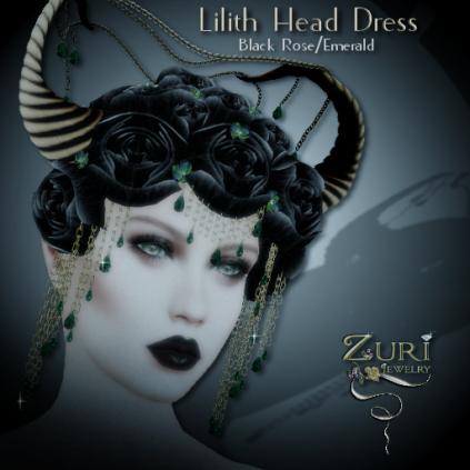 Lilith Head Dress - Black Rose_Emerald