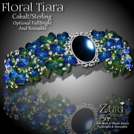 50% Countdown Sale~ Floral Tiara - Cobalt-Transfer