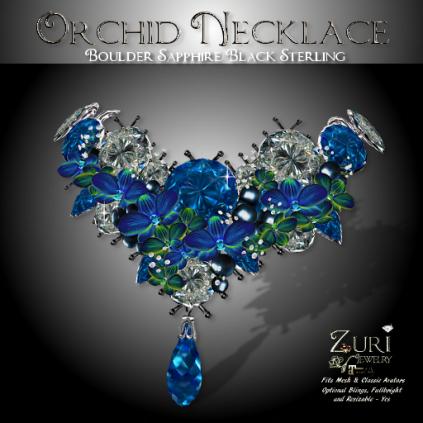 Orchid Necklace - Boulder Sapphire_Black Sterling