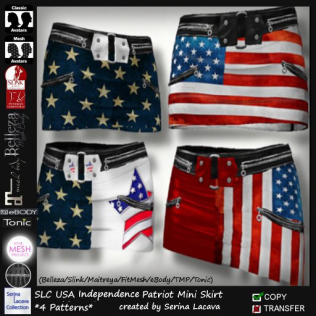 SLC USA Indepencence Patriot Mini Skirt _4 Patterns_PIC